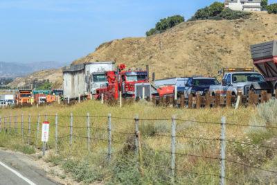 Jackknifed semi truck causes traffic delays