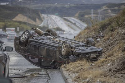 Overturned vehicle results in no injuries