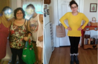 Before/after: 228/127 lbs. She enjoys her new body.